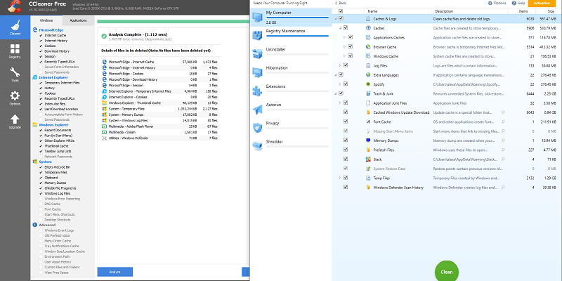Disk Cleanup and Windows Registry: CleanMyPC vs CCleaner